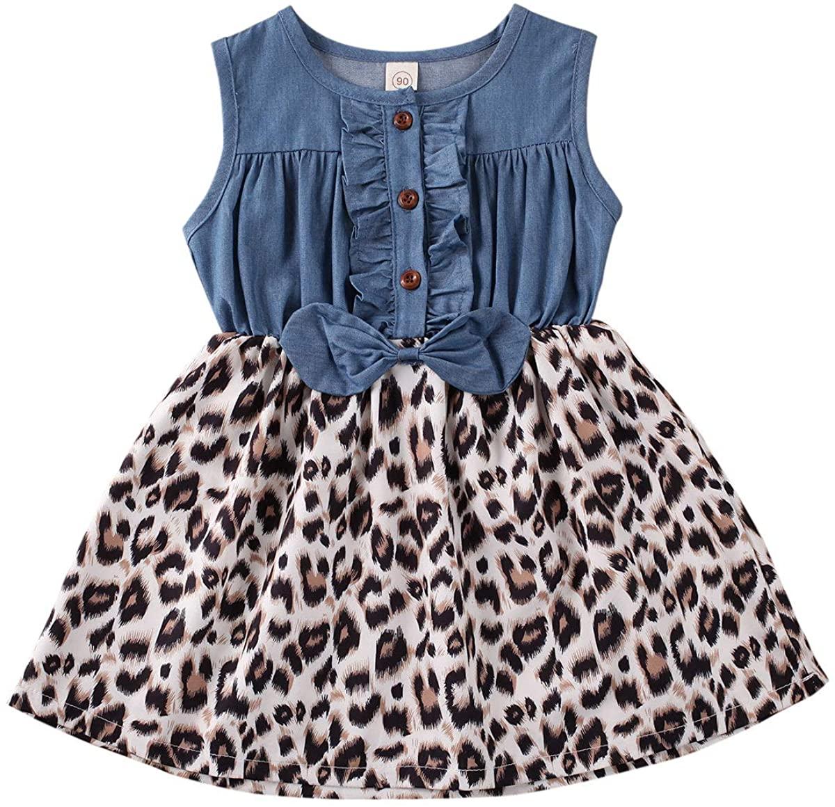 Ambabe Toddler Baby Girl Clothes Denim Sleeveless Bowknot Ruffled Button Stitching Leopard Print Tutu Dress Sundress Outfit