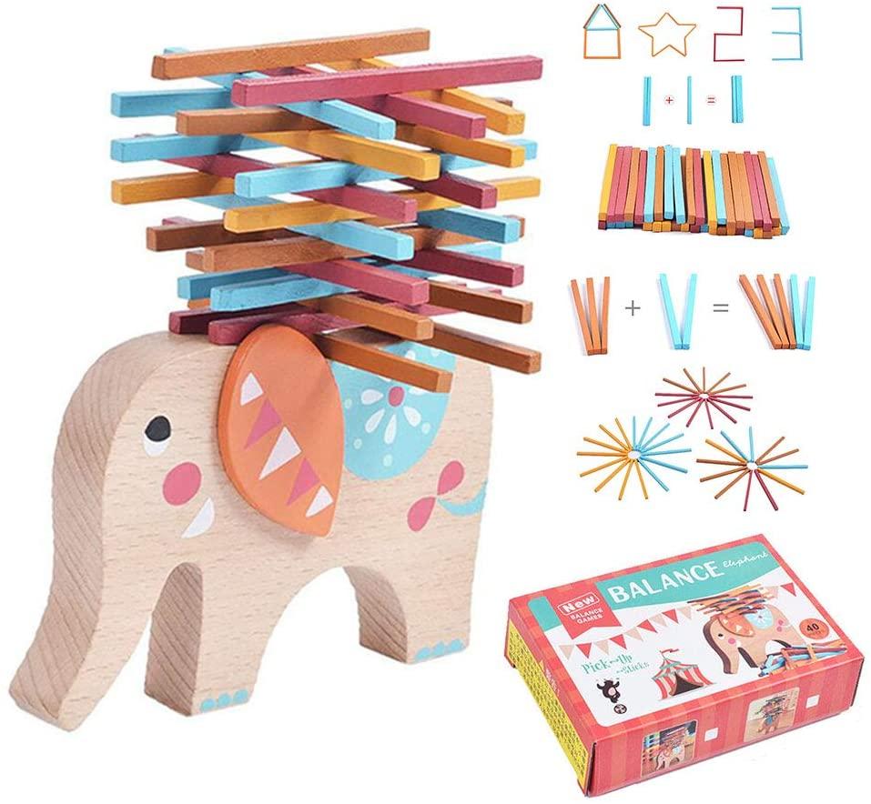 Sucfami 40 Pieces Wooden Balancing Stacking Game Balance Beam Sticks Bar Toy for Baby Kids Elephant