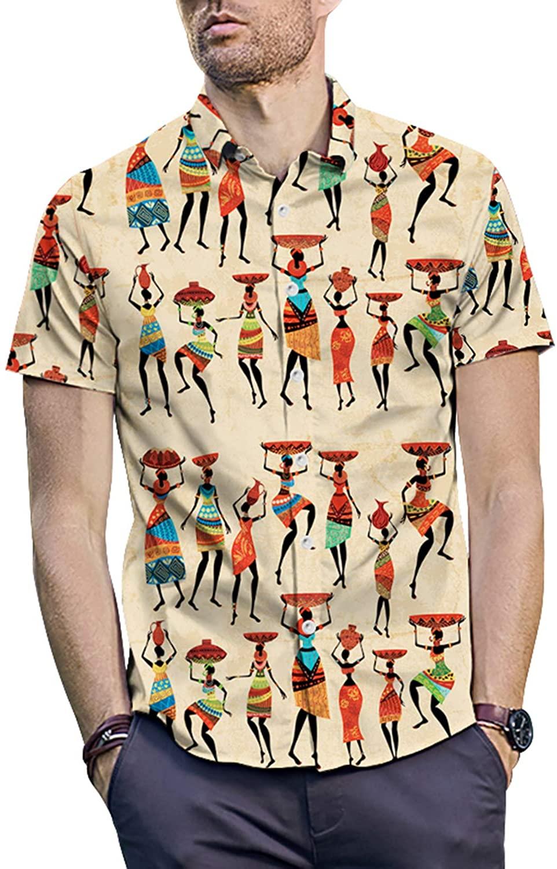 PIZOFF Men's Print Casual Button Down Short Sleeve Dress Shirt