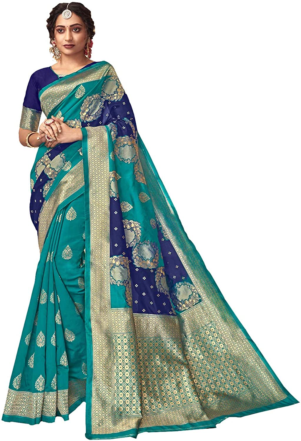 Indian Saree for Women Ethnic Sari Light Sea Green Sari with Unstitched Blouse. ICW2640-5