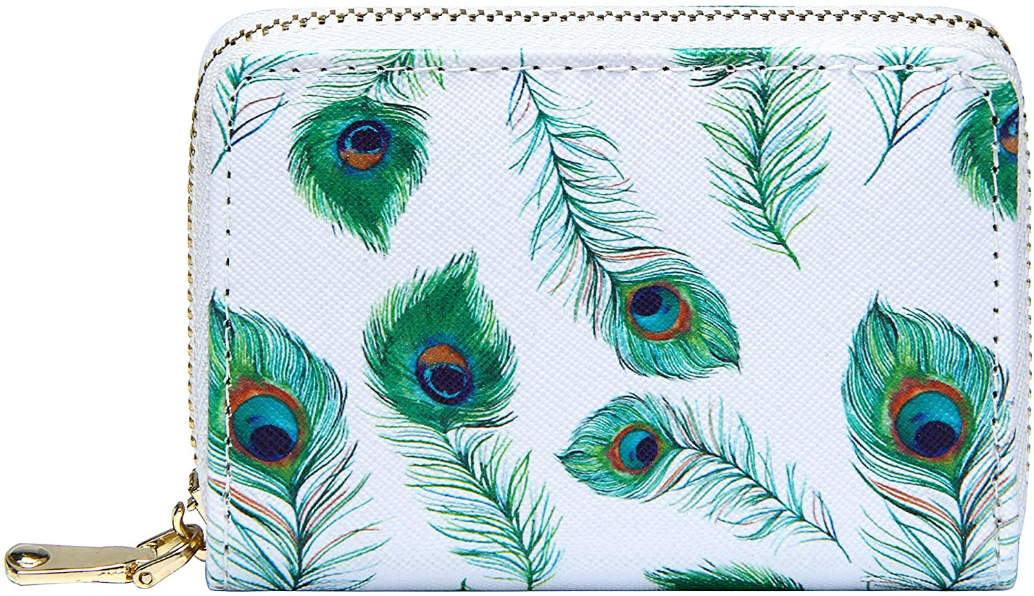 Small RFID Credit Card Holder Wallet for Women Printed Zip ID Card Case
