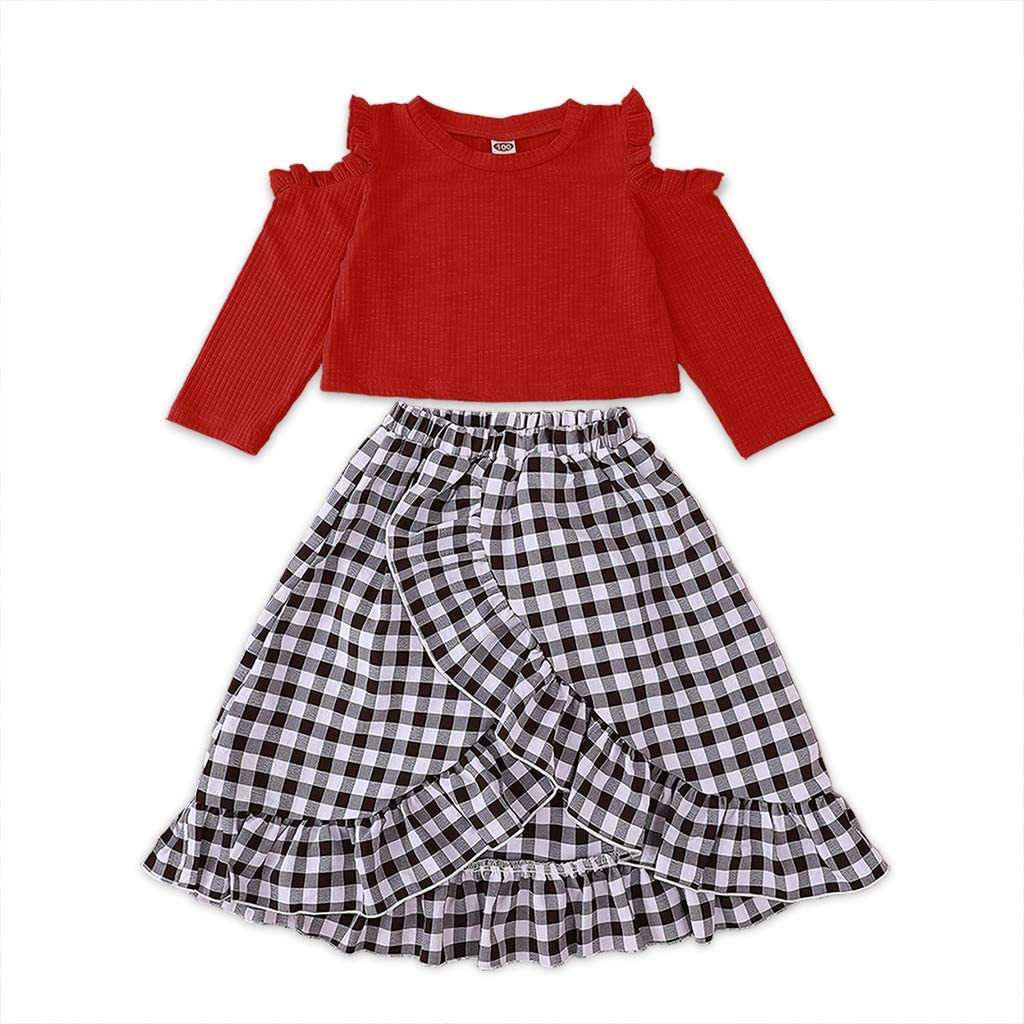 Toddler Kids Baby Girl Clothes Long Sleeve Shirt+Ruffle Plaid Skirt 2PCS Dress Outfits
