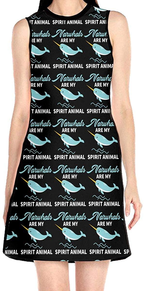 Narwhals are My Spirit Animal Dress Sleeveless A-Line Dress Tank Dresses Elegant Dress