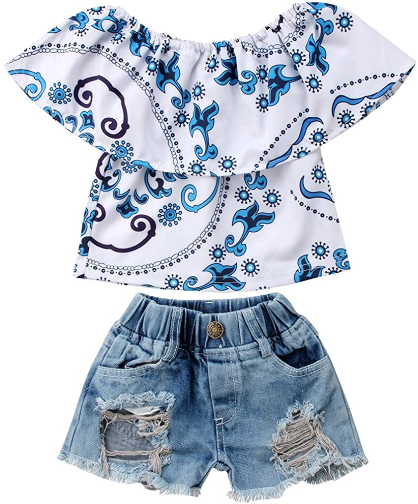 Toddler Infant Baby Girls Lotus Leaf T-Shirt Top + Hole Shorts Jeans Pants Clothes Outfits Set