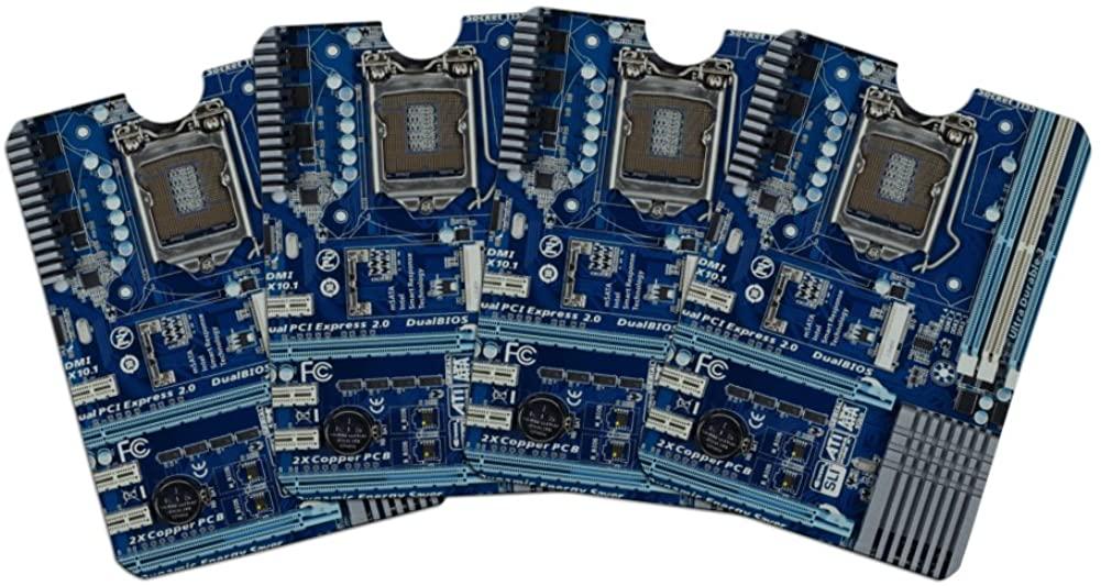 Blue Computer Motherboard Processor CPU Credit Card RFID Blocker Holder Protector Wallet Purse Sleeves Set of 4
