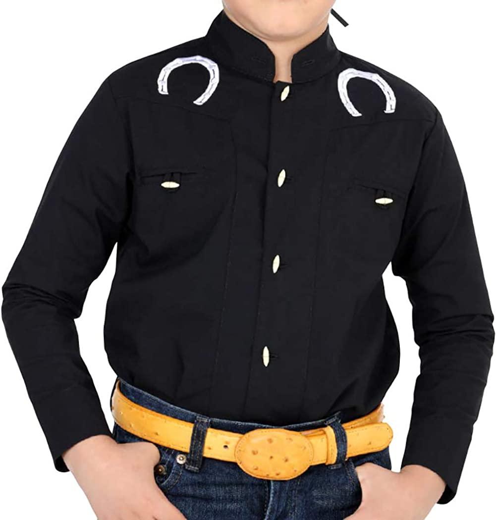 El General Boys Charro Shirt Western Wear Camisa Charra de Niño Color Black