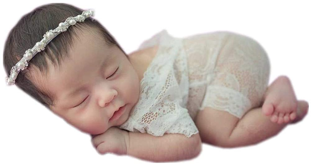 Newborn Photography Props Girls Outfits Baby Photo Props Headdress with Lace Romper Bodysuit Set