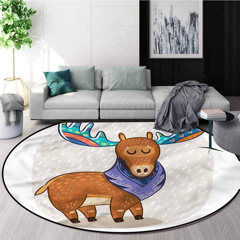 RUGSMAT Moose Round Area Rug,Ornamental Deer with Antlers Non-Slip No-Shedding Kitchen Soft Floor Mat Diameter-39