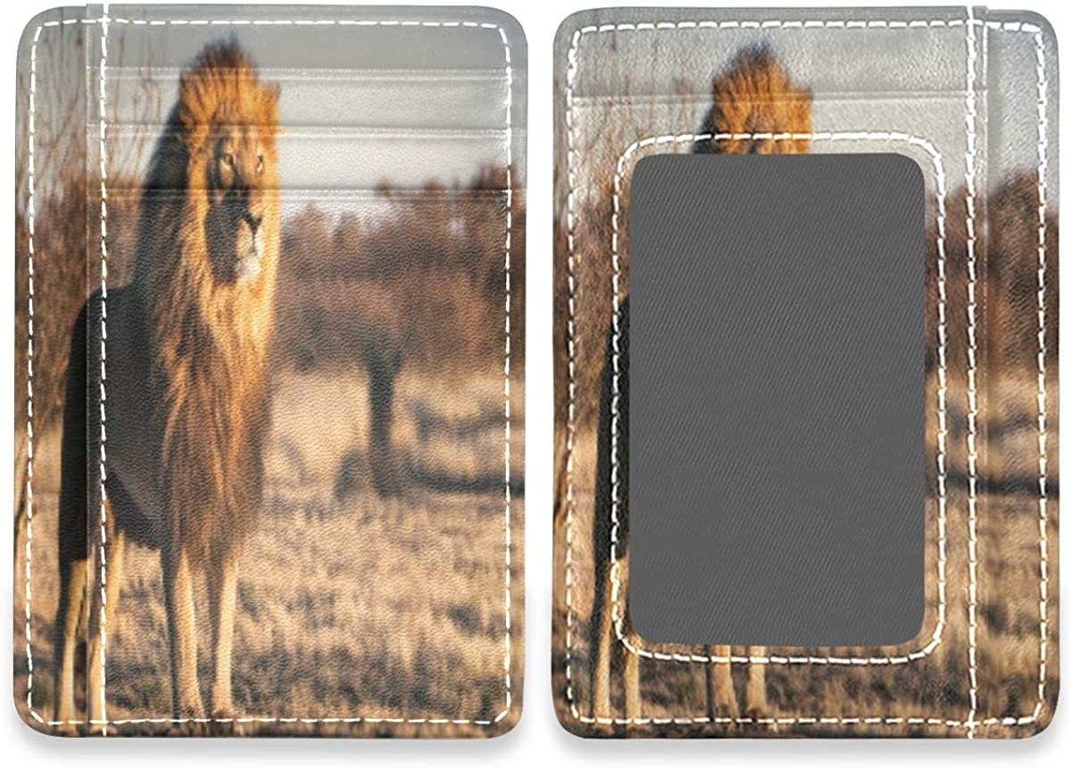 Majestic Lion Slim Minimalist RFID Leather Wallets Front Pocket Credit Card Holder Men