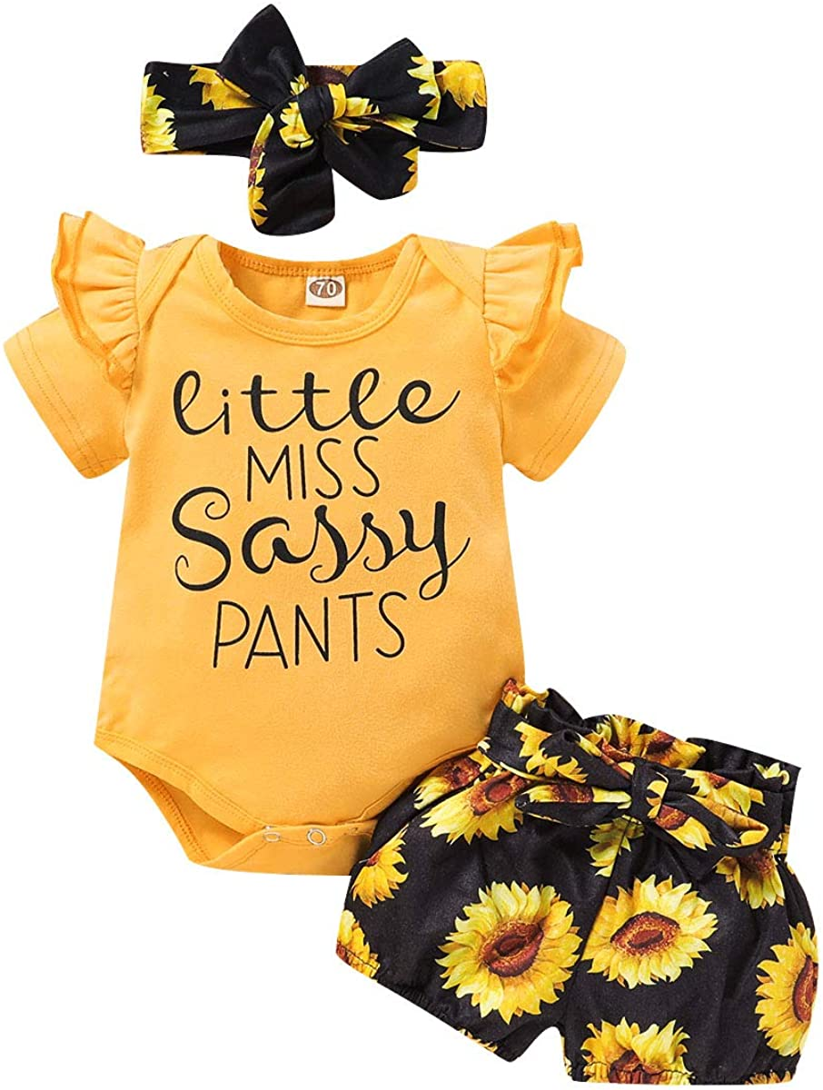 3PCS Infant Toddler Baby Girl Floral Clothes Ruffle Romper Bodysuit +Long Pants Sunflower Outfit Set