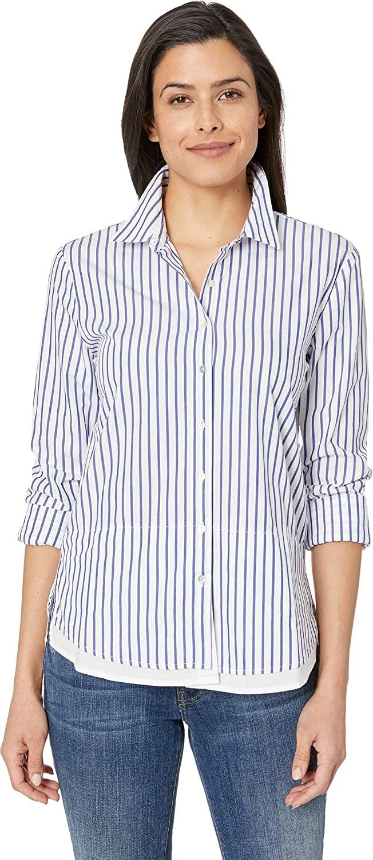 Elliott Lauren Women's Button Up Stripe Shirt with Double Layer