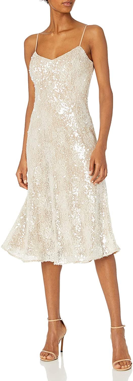 Dress the Population Women's Antonia Sequin Lace Fit & Flare Midi Dress