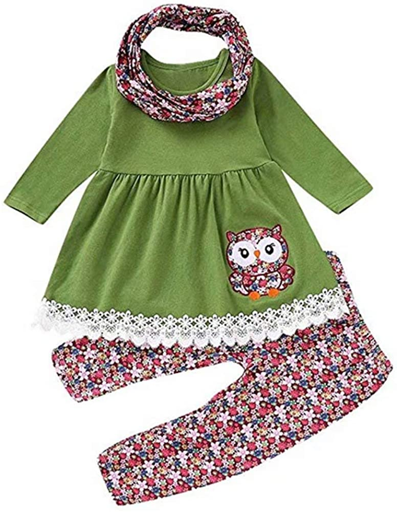 Toddler Girl Outfits Ruffle Flare Tunic Dress and Floral Leggings Pants Clothes Set Scarf Pant Set