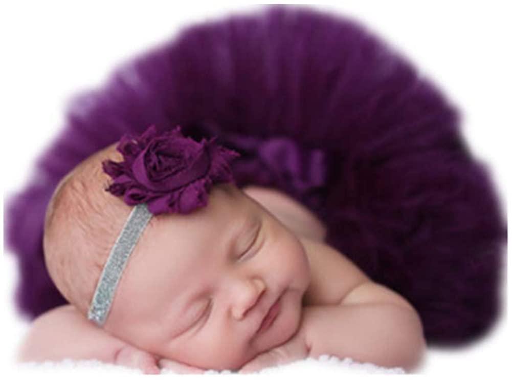 Fashion Cute Newborn Girls Baby Outfits Photography Props Tutu with Headdress Dark Purple
