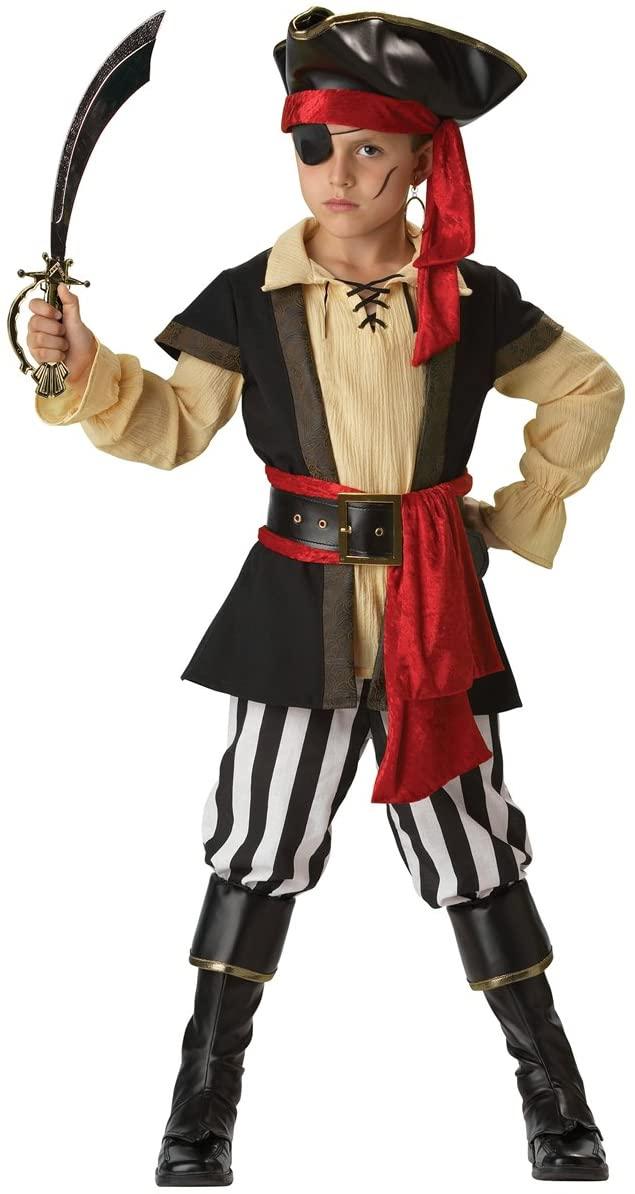 InCharacter Costumes, LLC Boys 8-20 Pirate Scoundrel Vest Set, Black/Red, X-Large