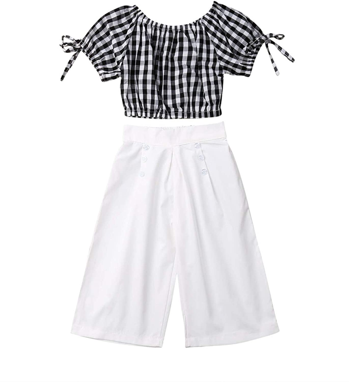 Toddler Kids Baby Girls Plaid Off Shoulder Crop Tops + Wide Leg Pants 2Pcs Summer Outfit Clothes