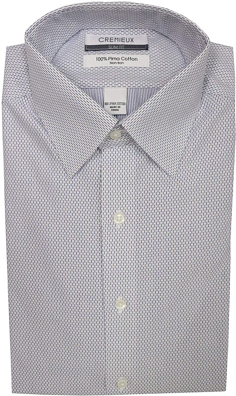 Cremieux Non Iron Slim Fit Spread Collar Stripes Dress Shirt S95DH121 White/Navy