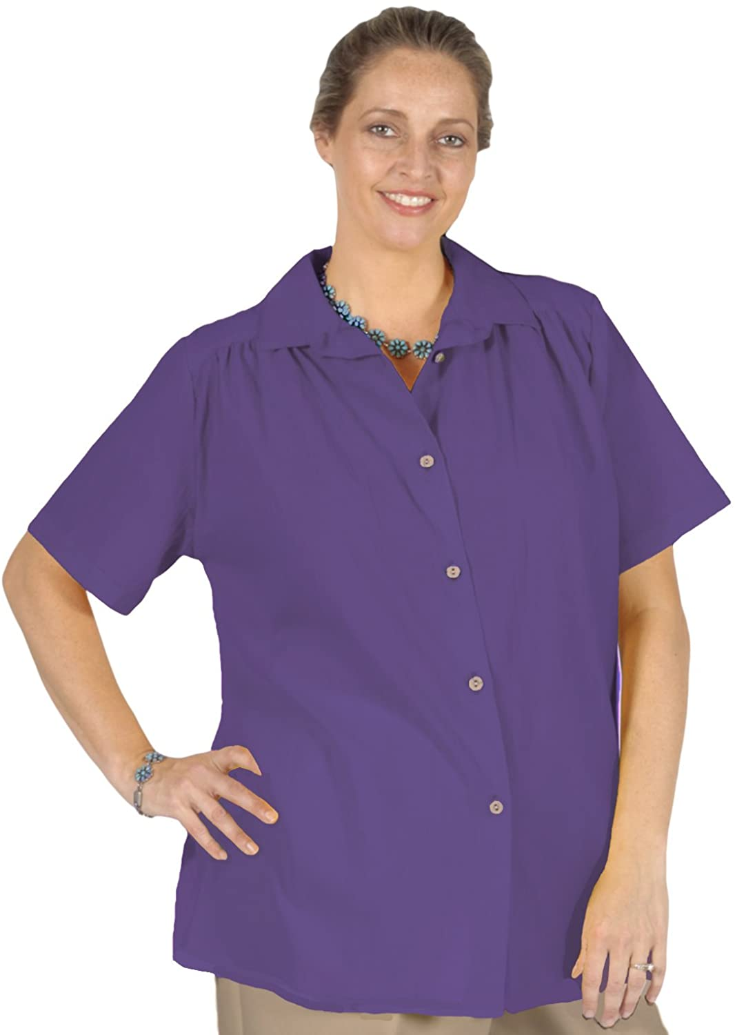 A Personal Touch Women's Plus Size Purple Gauze Short Sleeve Tunic