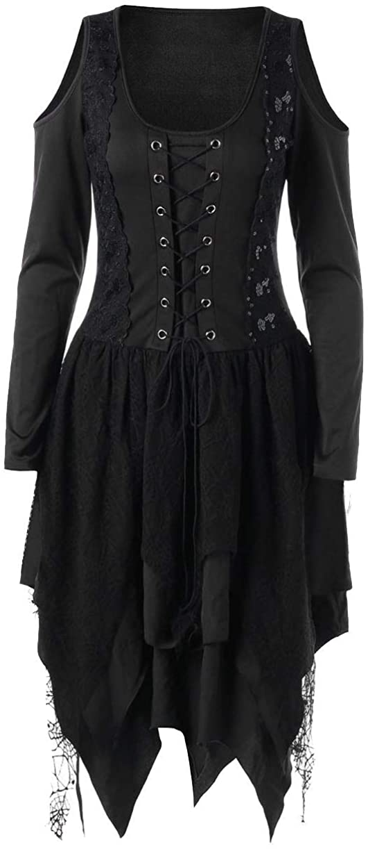 Nite closet Black Gothic Dresses Women Witch Lace Long Sleeves Handkerchief Skirt