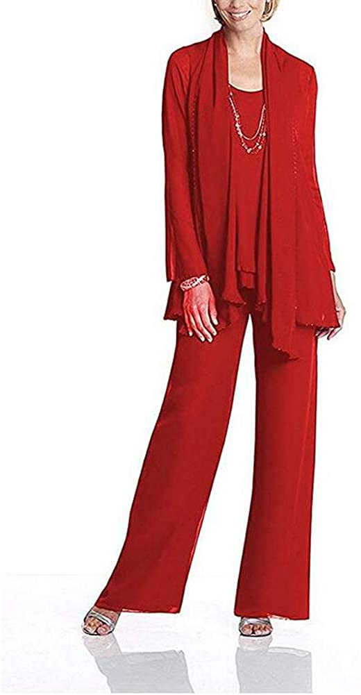 Women's Red Chiffon Mother of The Bride Dress 3 Piece Pants Suit with Jacket US8