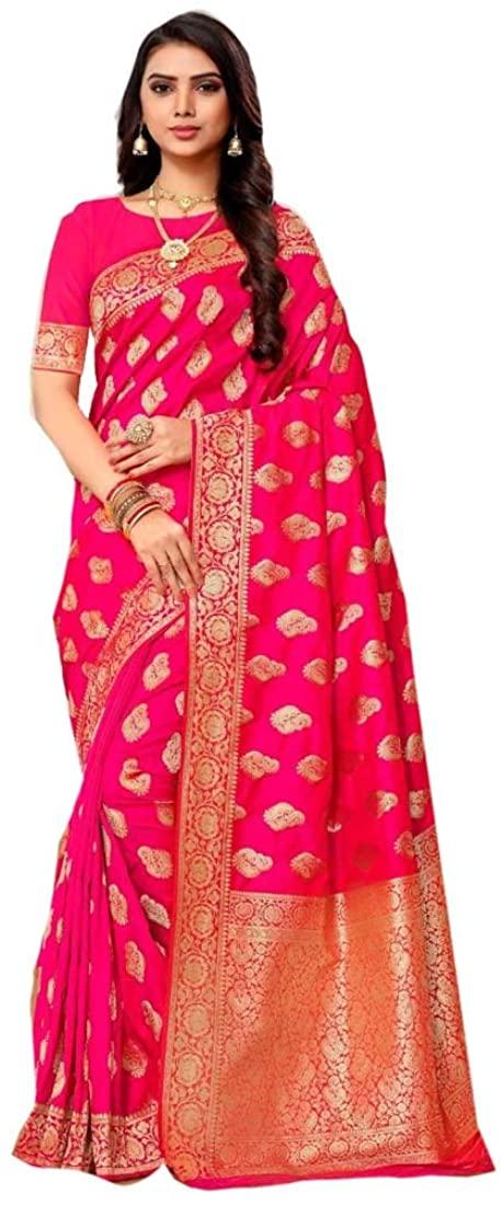 Pink Eid Uljha Party Festival Soft Pure Banarasi Silk Indian Saree Sari Blouse Muslim Dress 9892B