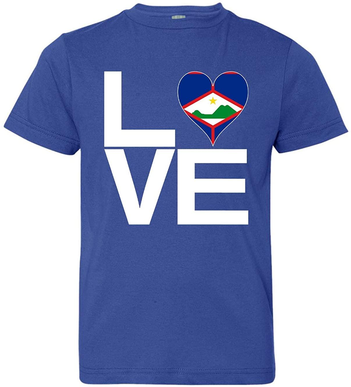 Tenacitee Boy's Youth Love Block Sint Eustatius Heart T-Shirt