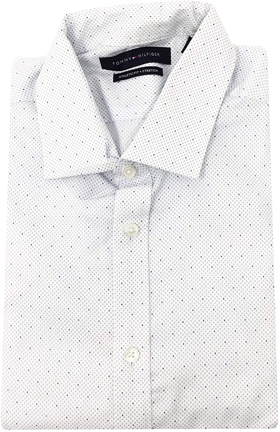 Tommy Hilfiger Mens Fitted Long Sleeve Flex Non-Iron White Dress Shirt 15.5 34/35