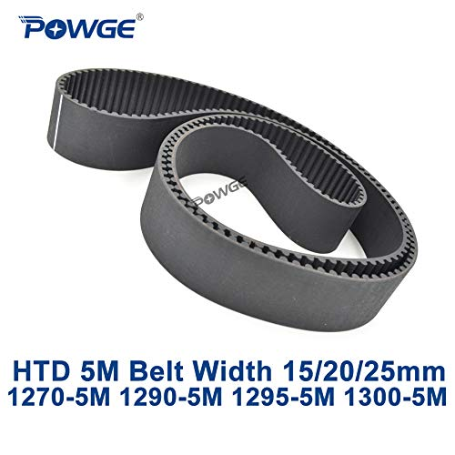 Ochoos HTD 5M synchronous Timing Belt C=1270/1290/1295/1300 Width 15/20/25mm Teeth 254 258 259 260 HTD5M 1270-5M 1290-5M 1300-5M - (Width: 15mm, Length: 1295mm Teeth 259, Number of Pcs: 1pc)