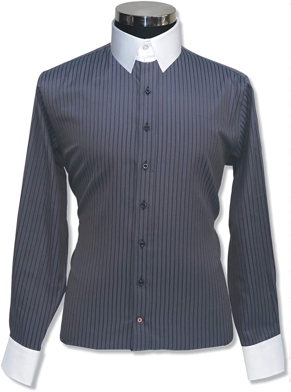 WhitePilotShirts Tab Collar Mens Bankers Grey Stripes Shirt 100% Cotton Loop Collar Single Cuff Gents 100-45