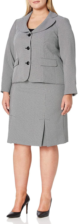 Le Suit Women's 3 Button Notch Collar Mini Diamond Jacquard Pleat Skirt Suit