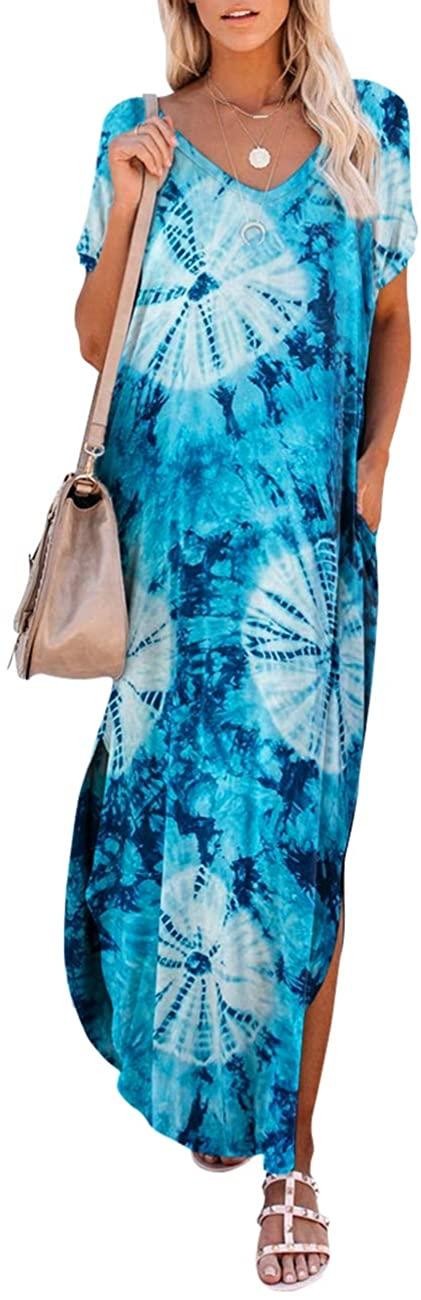 Maketina Women Short Sleeve Pocket Casual Long Dress Side Split Loose Beach Maxi Dress