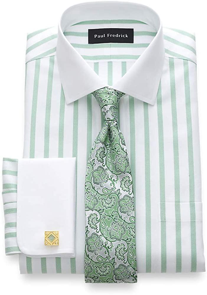 Paul Fredrick Men's Slim Fit Impeccable Non-Iron Cotton Stripe Dress Shirt