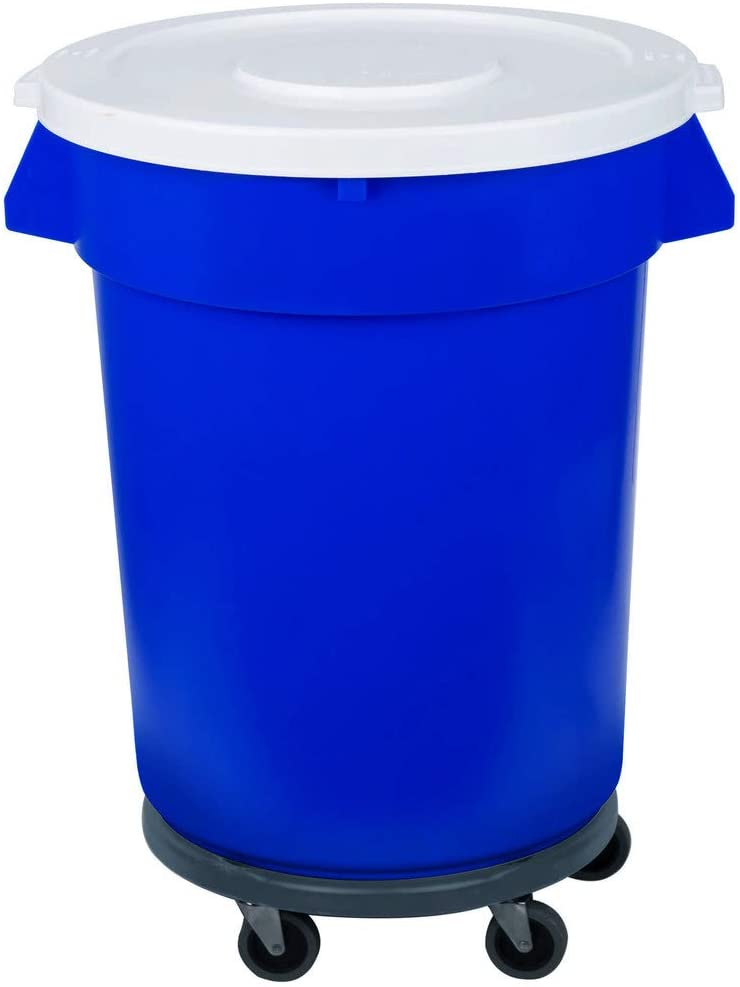 2 Pack! 32 Gallon / 121 Liters Blue Trash Can, Lid, and Dolly Kit. Trash Container. Trash Bucket. Garbage Bin. Waste Bin. Home Trash Can. Commercial Waste bin.