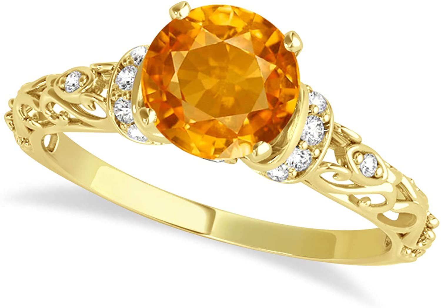 (1.62ct) 14k Yellow Gold Citrine and Diamond Antique-Style Engagement Ring