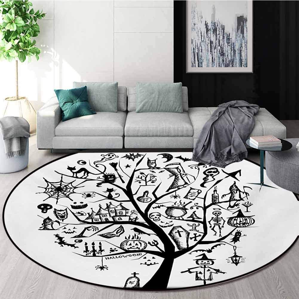 RUGSMAT Halloween Round Rugs for Bedroom,Sketchy Spooky Tree with Spooky Design Objects and Wicked Witch Broom Abstract Circle Rugs for Living Room,Round-51 Inch Black White