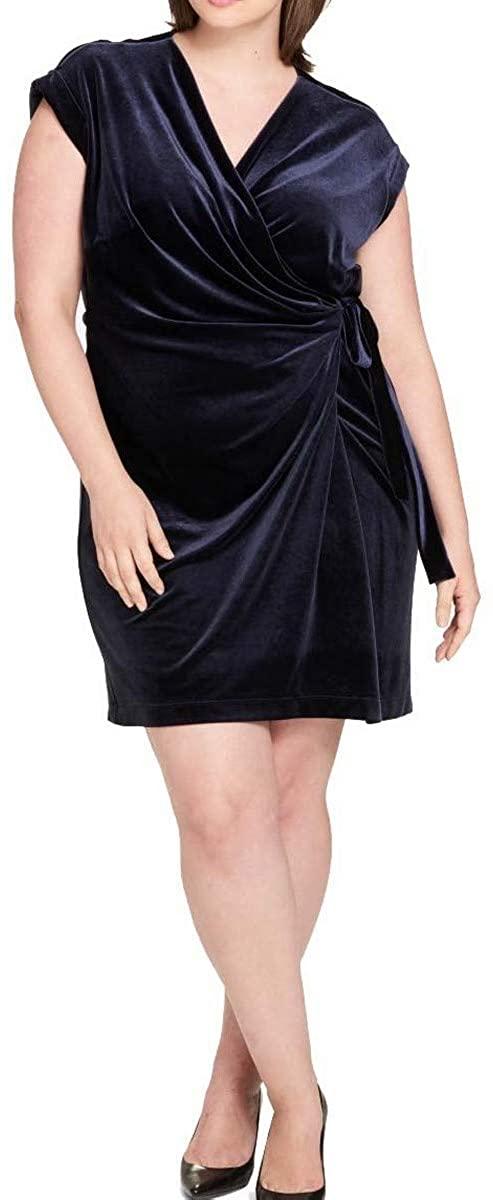 Tommy Hilfiger Women's Plus Size Velvet Wrap Dress