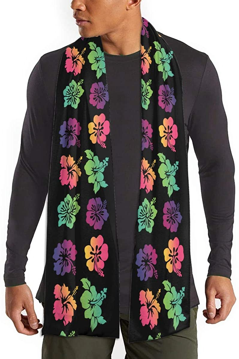 Colorful Hawaii Flower Unisex Warm Shawls Imitation Scarf Winter Neckerchief