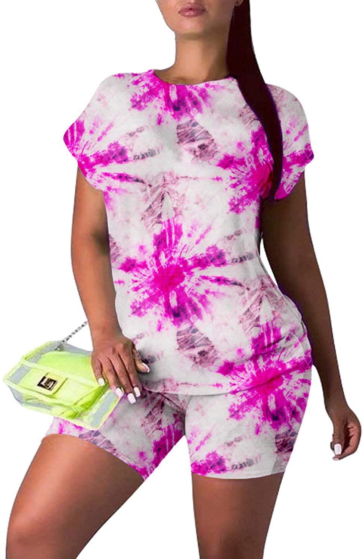 Women's 2 Piece Tie Dye Printed Summer Sweatsuit Set Sexy Outfits Short Sleeve Tracksuit Bodycon Sweatpants Loungewear