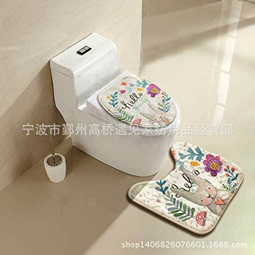 Floor mat toilet cover toilet 2 pieces set toilet toilet toilet decoration cover toilet mat U-type toilet foot 44 x 50CM Rabbit alfalfa Red Mushroom 3Pcs