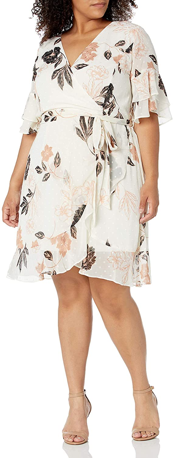 City Chic Women's Apparel Women's Plus Size Centre Ruffled Dress with Frill Bardot Detail