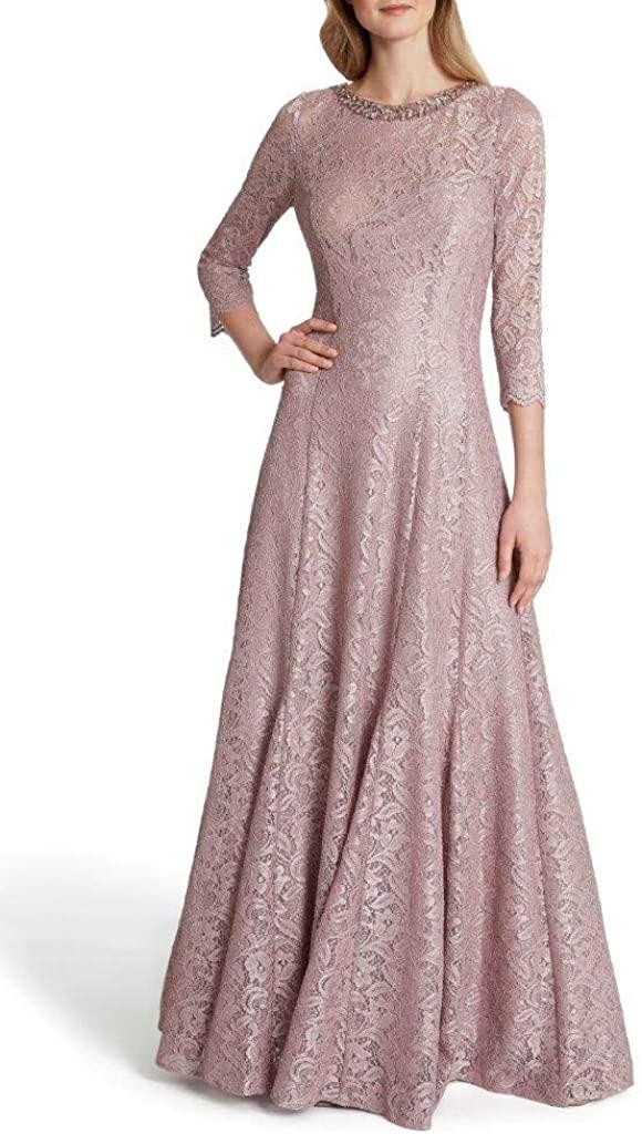 Tahari ASL Womens Long Sleeve Embellished Neck Gown