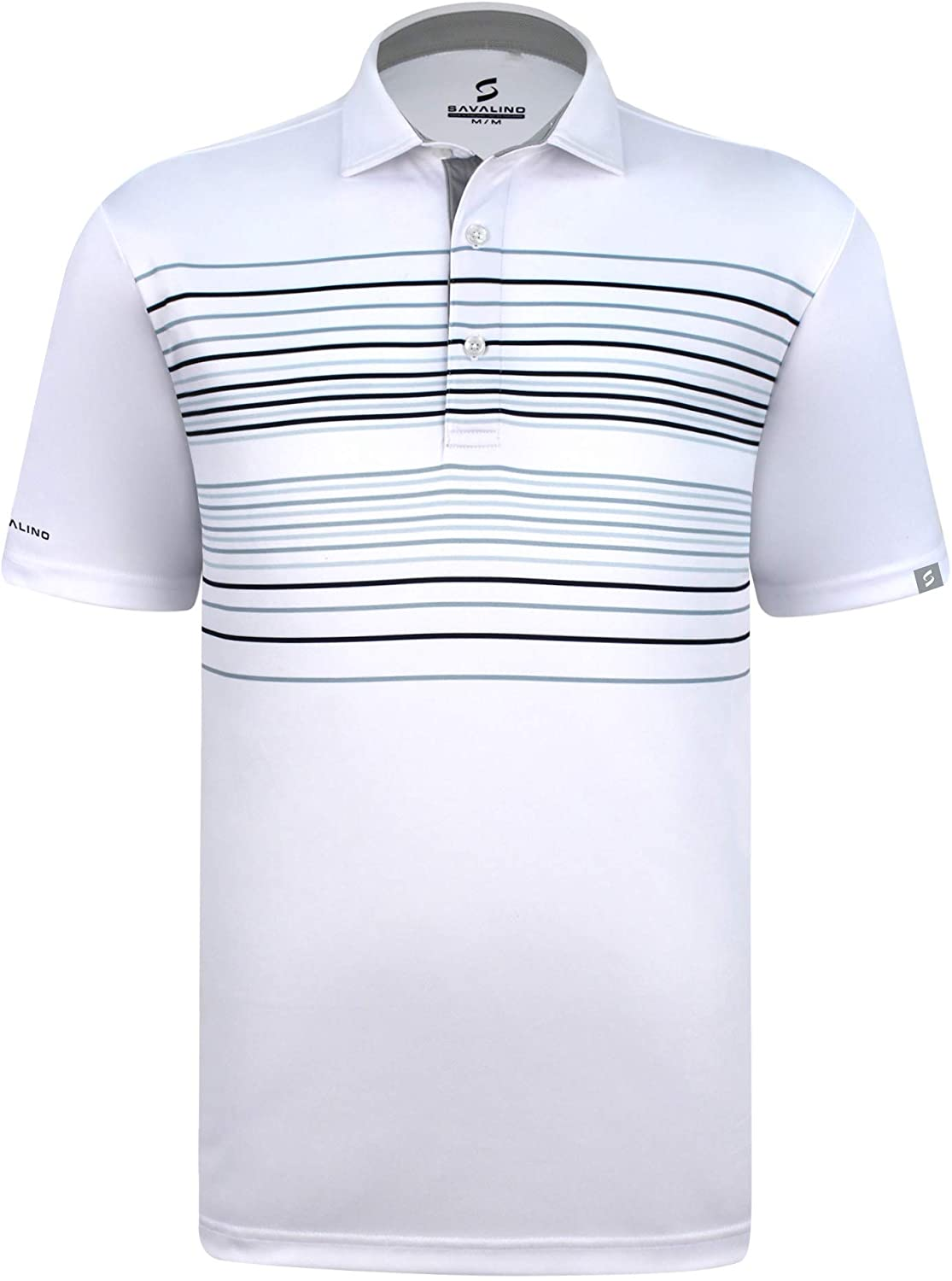 SAVALINO Men's Short Sleeved Polo Shirts Material Wicks Sweat & Dries Fast, Size S-5XL