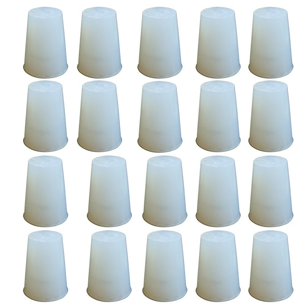 PUL FACTORY Solid Silicone Stopper, Size #000 - Pack of 20