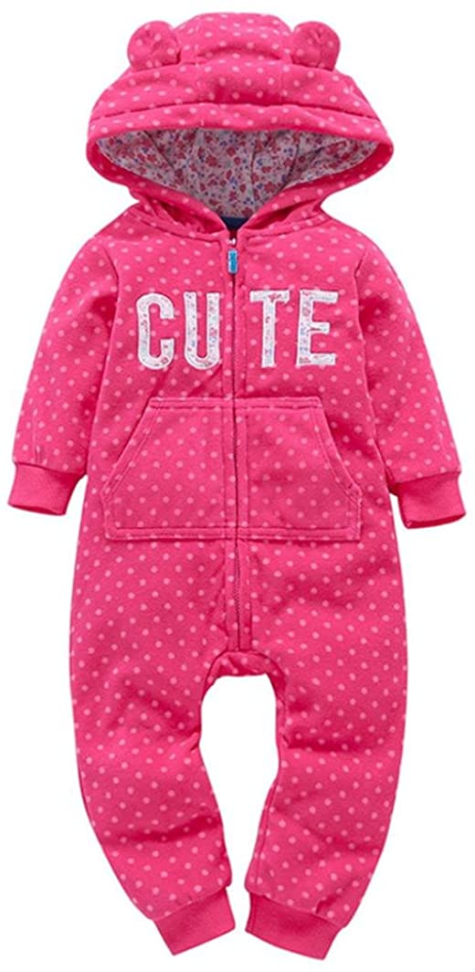 FUNIC 6-24 Months, Infant Baby Boys Girls Thicker Print Hooded Romper Jumpsuit Fall Winter Outfit Clothes