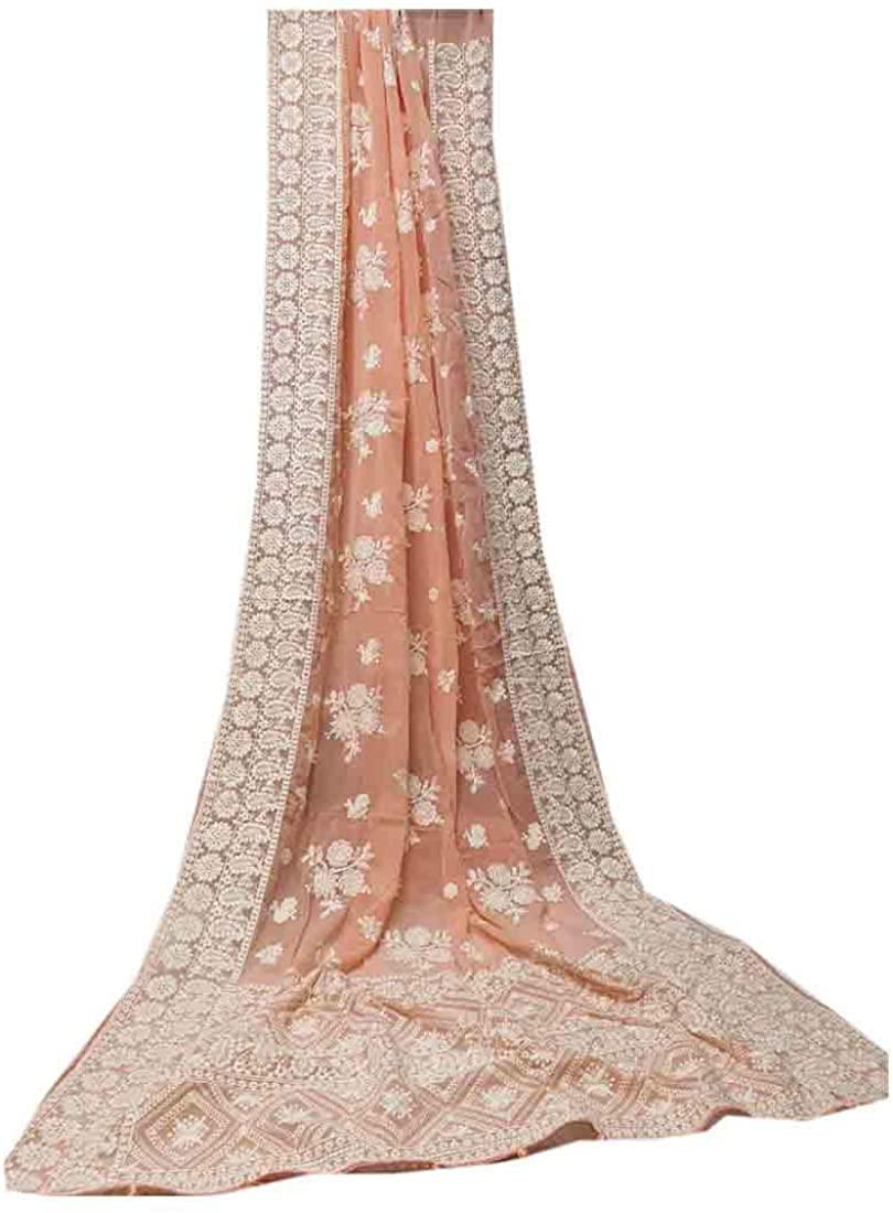 Salmon Peach Georgette Lucknowi Chikankari Embroidery Indian Saree Sari Pakistani Party Wedding Bridal Dress 9917