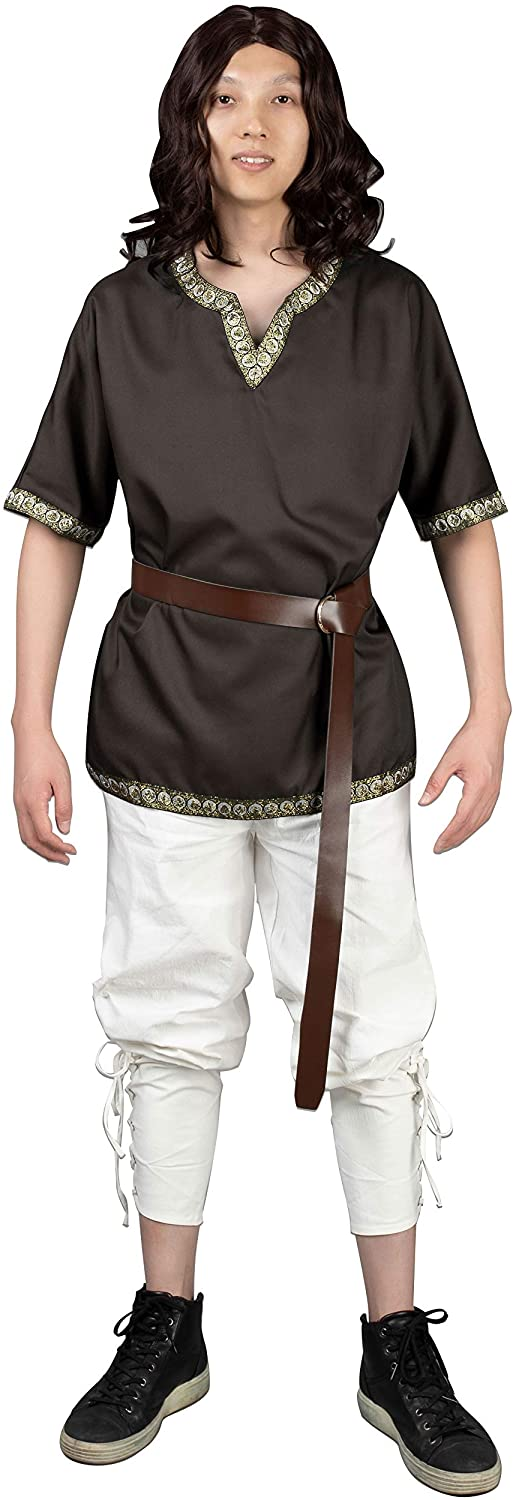 Cosfun Mens Medieval Knight Tunic Viking Warrior Shirt Costume with V-Neck