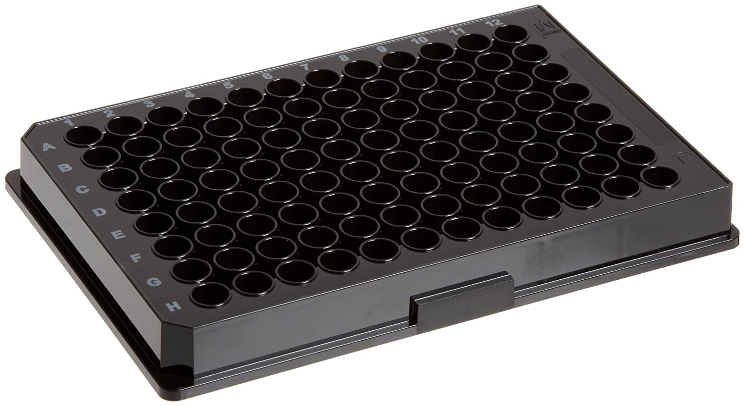 BrandTech 781608 Polystyrene F-Bottom 96 Well BRANDplates pureGrade Non-Treated Microplates, Non-Sterile, 350 microliter Well Capacity, Black (Pack of 100)