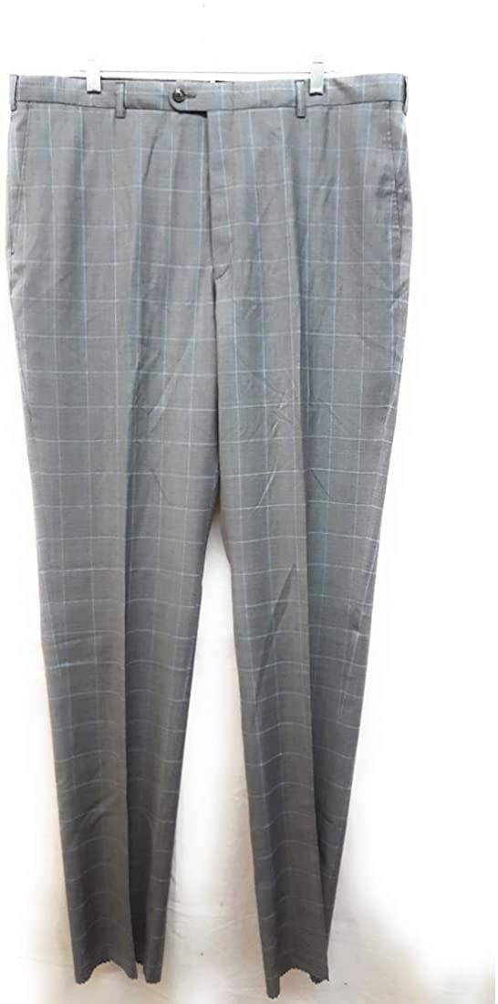 Hickey Freeman Classic B Fit Plaid Wool Pants, Grey, 39R