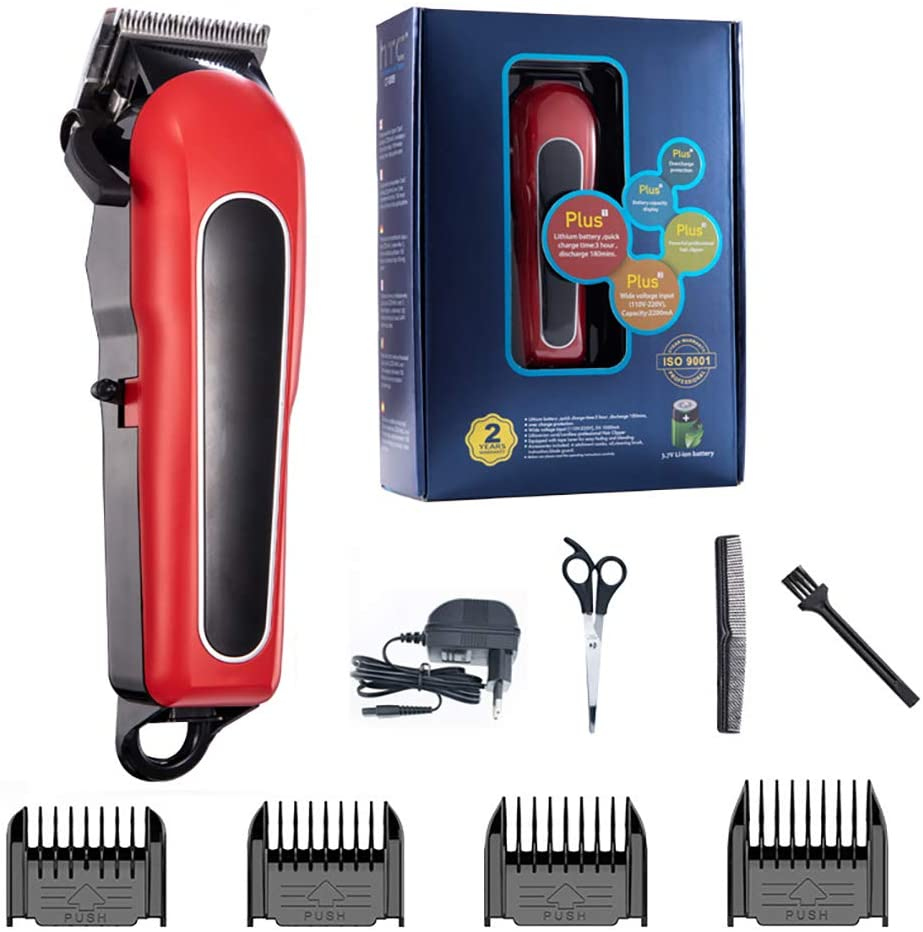 Professional Hair Clippers Sets, Professional Electric Low Noise Hair Clippers with LED Display and 4 Combs for Family for Men and Family Use
