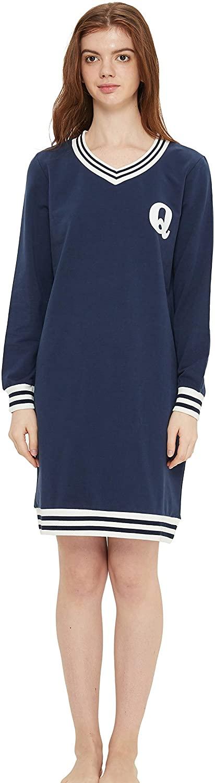 KICYANAN Women's Cotton Sleep Tee V Neck Long Sleeve Lounging Dress
